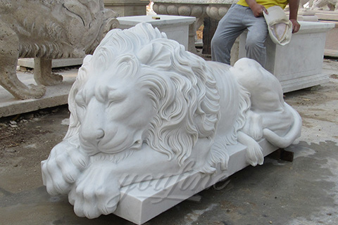 nartural marble sleeping lion statues life-size animal sculptures for decoration