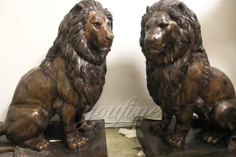 Decoration antique life size bronze lion sculptures for sale