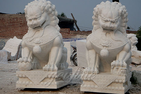 Decoration carving marble stone foo dog statues for gate