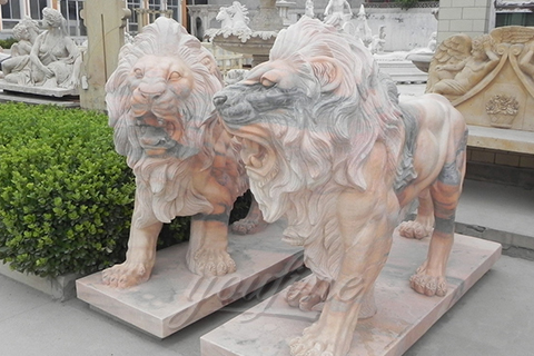 Decorative Hand Carved Yellow Marble Lion Sculptures for sale