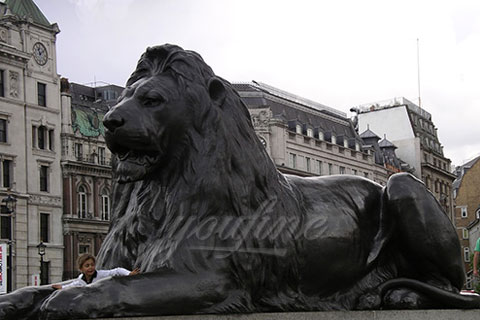 Garden lying life size bronze lion sculptures for park