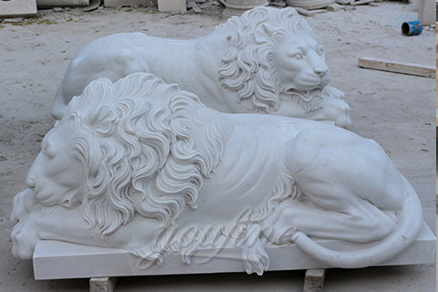 Hot sale outdoor decorative stone animal flying marble lion statues