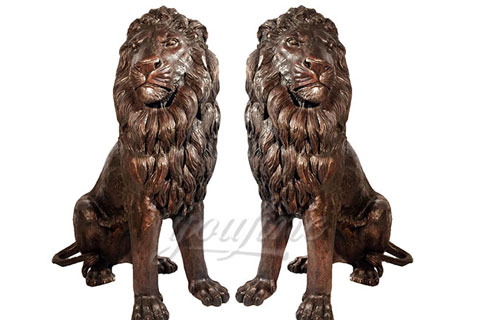 Large double sitting bronze lion statues for decoration