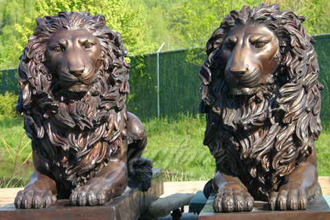 Outdoor Garden Ornament metal crafts bronze lion statues