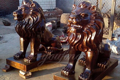 Outdoor garden decoration metal sculpture large bronze lions statues