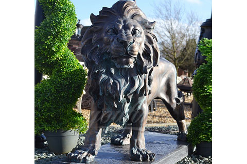 Outdoor garden decoration metal sculptures large bronze lions statues for sale