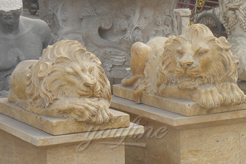 Garden ornaments sleeping marble lion statues outdoor for yard