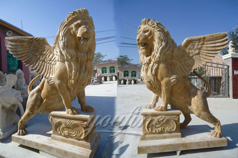Winged natural marble lion statue for decoration