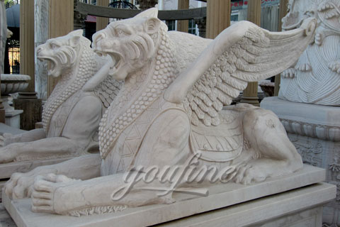 Winged white natural marble lion statue for decoration