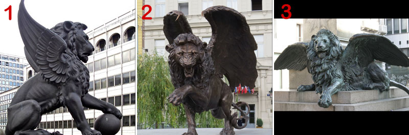 bronze flying lion statue