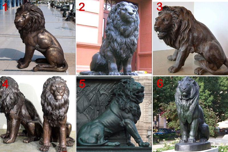 bronze lying lion statue