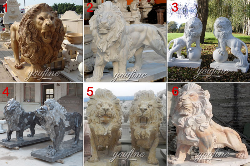 marble standing lion statue