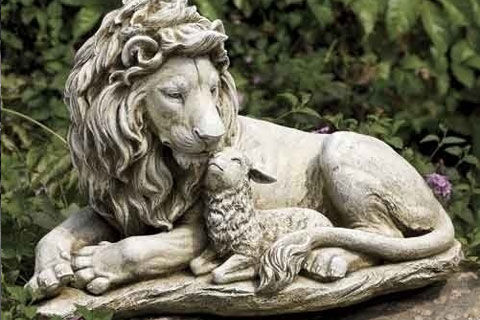 Garden concrete lion statues with lamb for sale