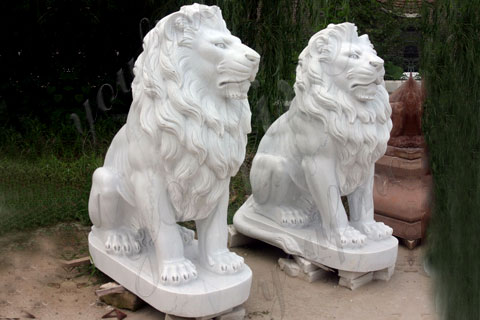 Outdoor garden ornaments white lion statues for sale