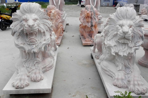 Outdoor pure white marble roaring lion statues for lawn ornaments