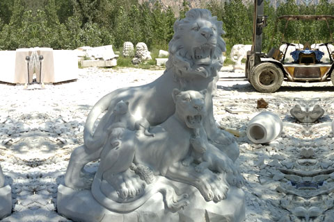 Outdoor white roaring lion statues with wolf statues for front porch