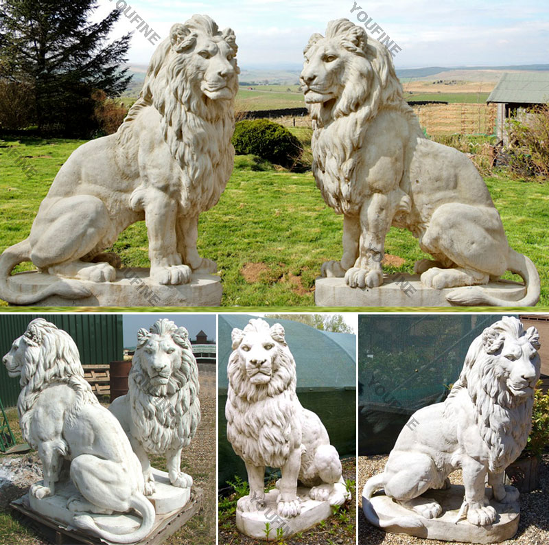 Outside garden ornaments white marble stone lion statues for sale