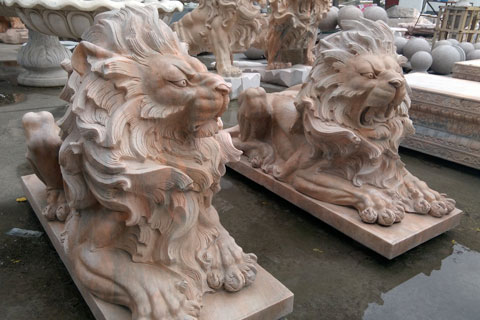 Roaring lions statues pair for front porch