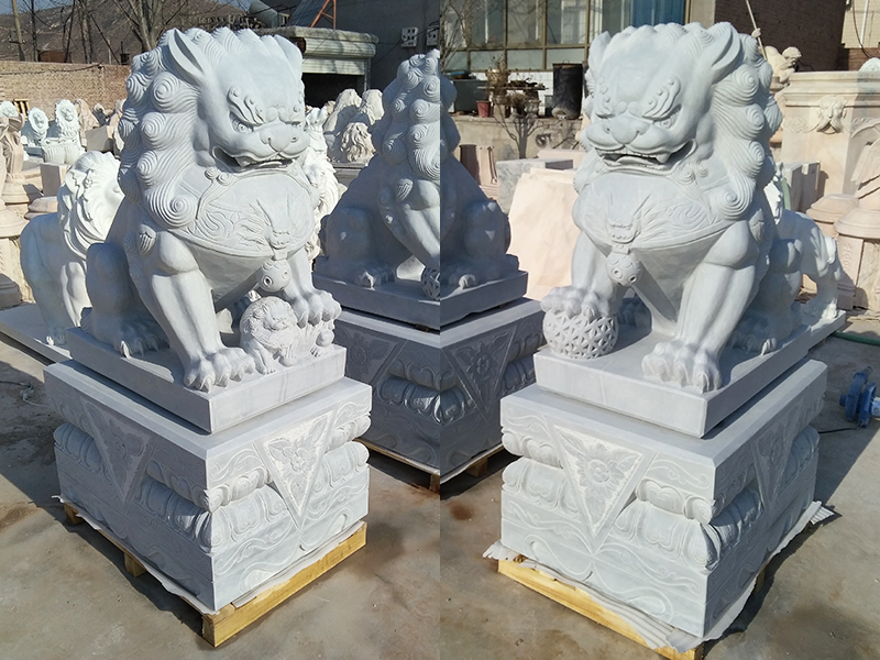 White marble foo dogs Chinese stone lion statues in pairs for front porch