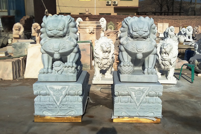 marble foo dogs Chinese stone lion statues in pairs
