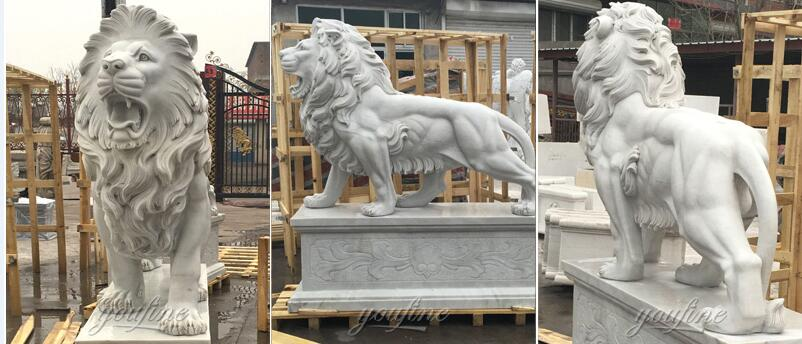 marble life size lion statue for outside garden decor