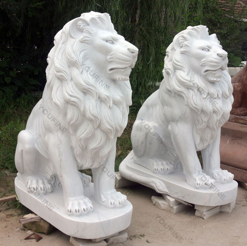 marble stone lion statue in pair outside for front door
