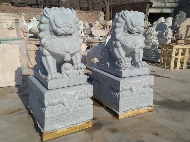outdoor marble foo dogs Chinese stone lion statues in pairs